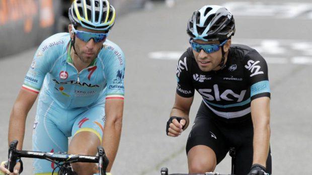 Mikel Landa junto a Nibali